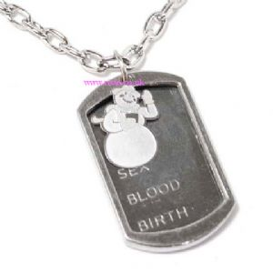 Steel snowman plate necklace, (jn120)